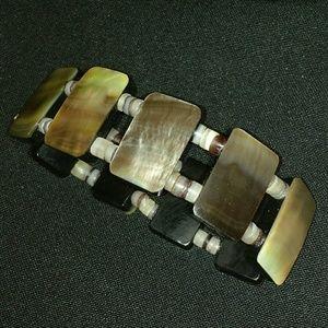Beautiful Stretchy Abalone Shell & Stone Bracelet